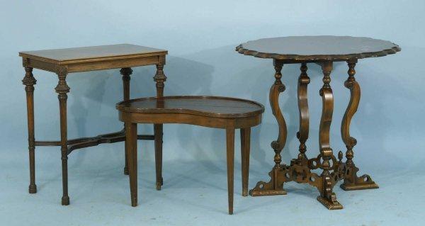 16: PIE CRUST TABLE, KIDNEY TABLE, SIDE TABLE, STOOL