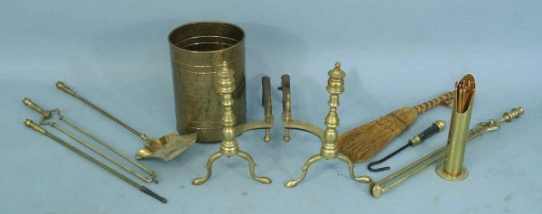 17: LOT OF BRASS FIREPLACE TOOLS AND ANDIRONS