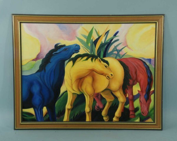 20: CONTEMPORARY FRAMED OIL ON CANVAS OF HORSES