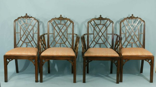 25: SET OF FOUR CHINESE CHIPPENDALE STYLE CHAIRS