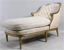 VINTAGE FRENCH CARVED  GILT FRAMED CHAISE