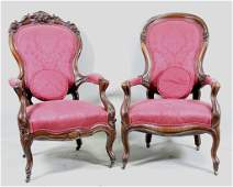 PAIR OF CIRCA 1850's VICTOR BALLOON BACK ARMCHAIRS