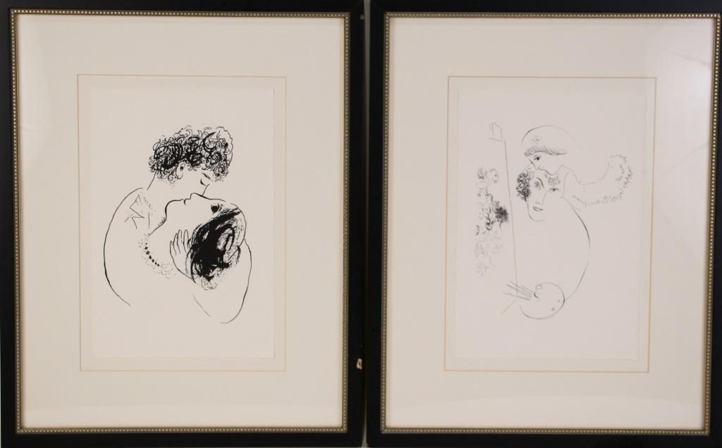 SET OF TWO MARC CHAGALL PRINTS ON RAG PAPER