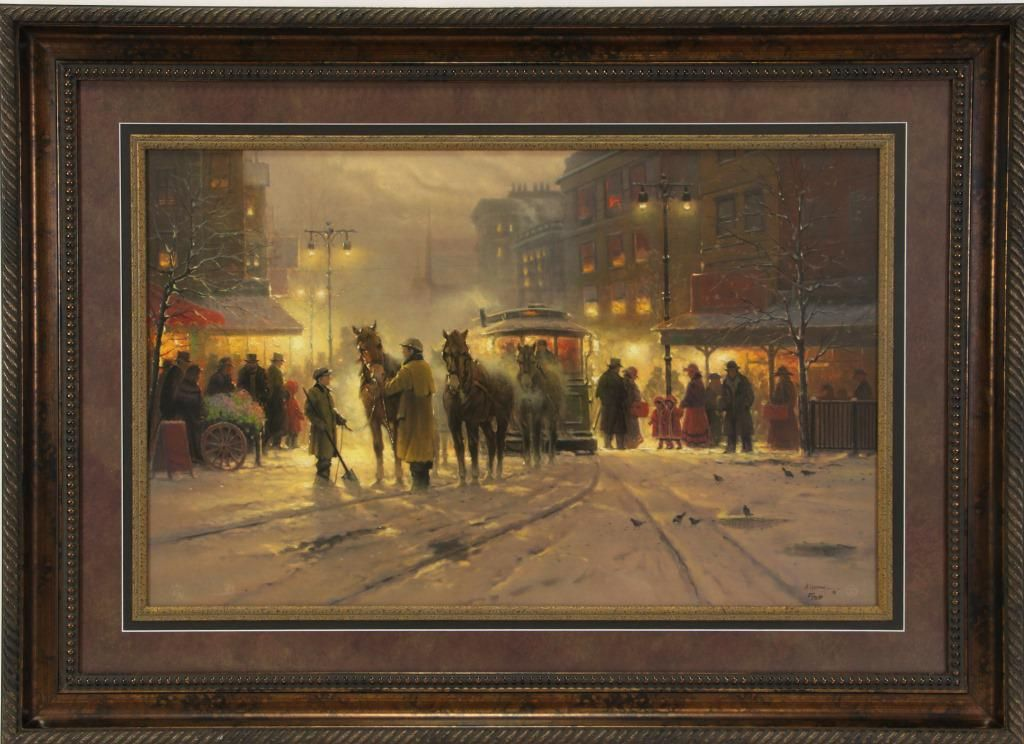 """G. HARVEY """"EVENING ON THE BOULEVARD"""" LITHOGRAPH"""