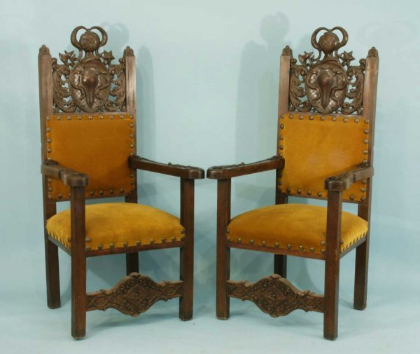 1027: A PAIR OF GOTHIC ROCOCO CHAIRS IN MUSTARD VELVET