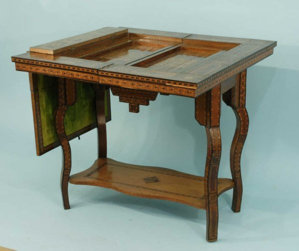 1039: MOROCCAN STYLE GAME TABLE WITH MOTHER-OF-PEARL