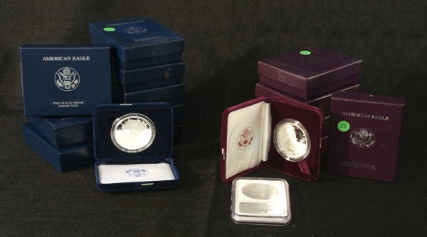 2024: LOT OF AMERICAN SILVER EAGLE COINS IN PROOF BOXES