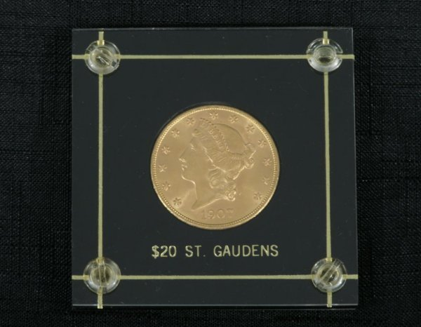 """2020: A $20.00 1907 P, 1ST YEAR OF """"NO"""" MOTTO, ST. GAUD"""