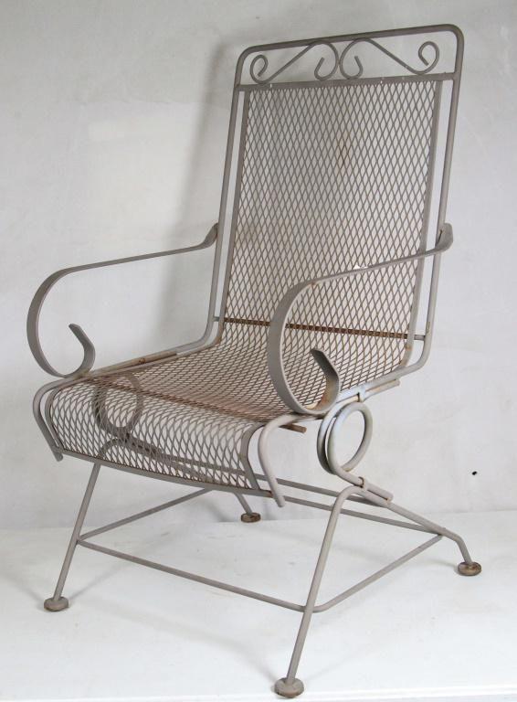 Four Vintage Wrought Iron Patio Chairs, Antique Rod Iron Patio Furniture