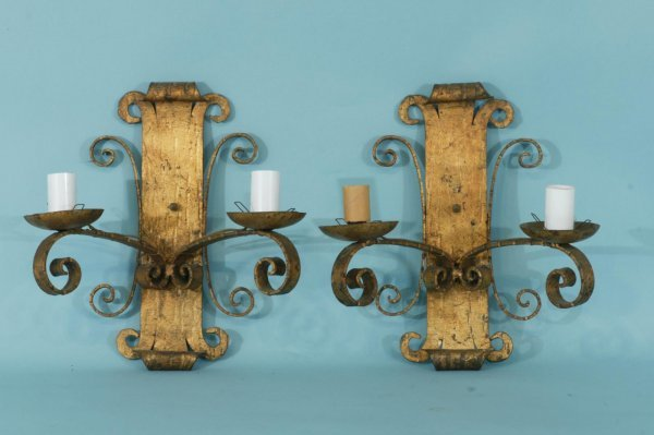 1: 2-LIGHT IRON WALL SCONCES, CIRCA 1930