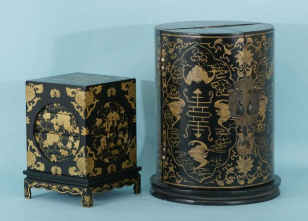 3: TWO ANTIQUE CHINESE LACQUER BOXES
