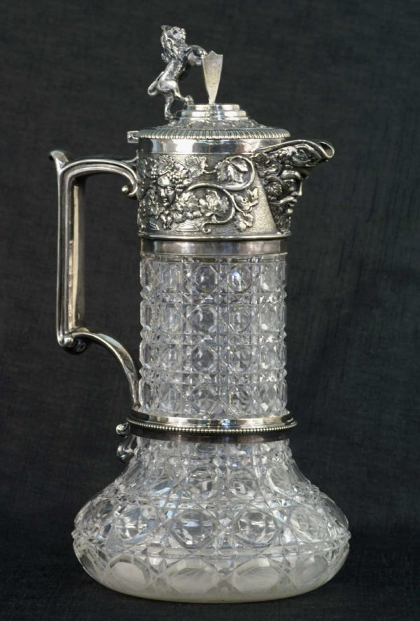 7: ANTIQUE SILVERPLATE & GLASS PITCHER BY ELKINGTON