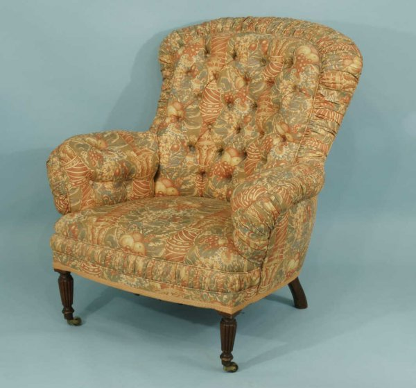 19: ANTIQUE EMPIRE TUFTED CLUB CHAIR, CIRCA 1880