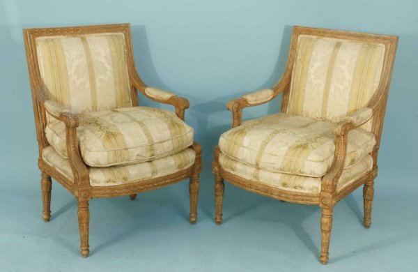 21: 19th CENTURY WELL CARVED FRENCH BERGERES CHAIRS