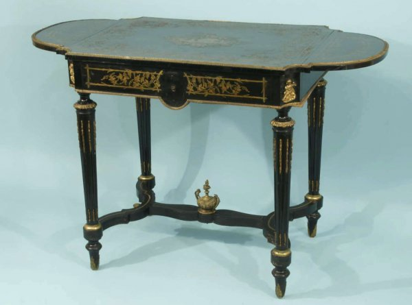 100: EARLY 19th CENTURY BRASS INLAID GAME TABLE