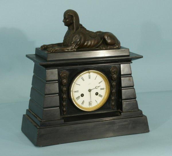 155: ANTIQUE 19th CENTURY MARBLE & BRONZE MANTEL CLOCK