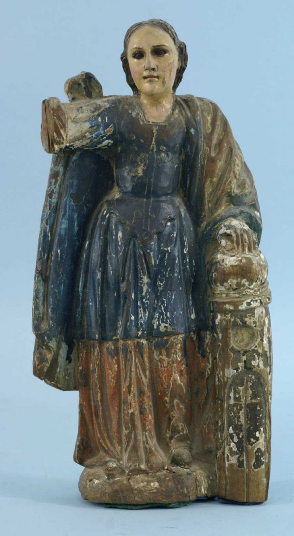 157: 18th CENTURY WOOD CARVED SANTO WITH A BLUE GOWN