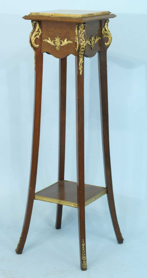 159: ANTIQUE PLANT STAND  WITH MARBLE TOP
