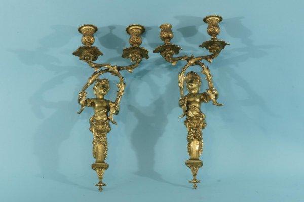 162A: ANTIQUE FRENCH GILT BRONZE WALL SCONCES, ca. 1850
