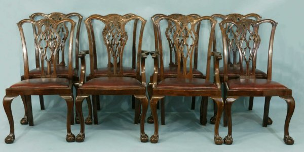167: SET OF EIGHT CHIPPENDALE STYLE CHAIRS, CIRCA 1900