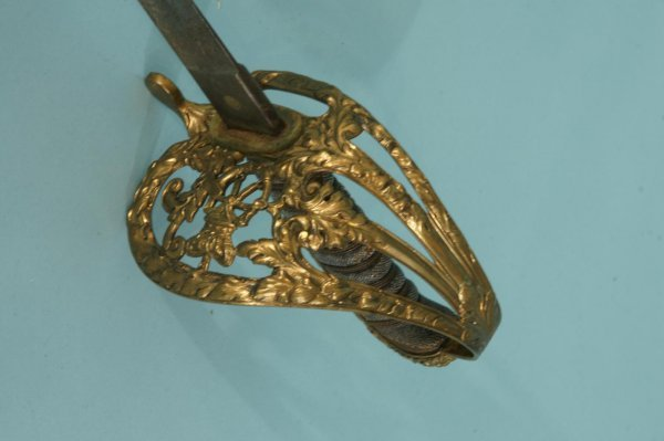241: ANTIQUE GOLD-PLATED SWORD WITH A LEATHER HANDLE - 2