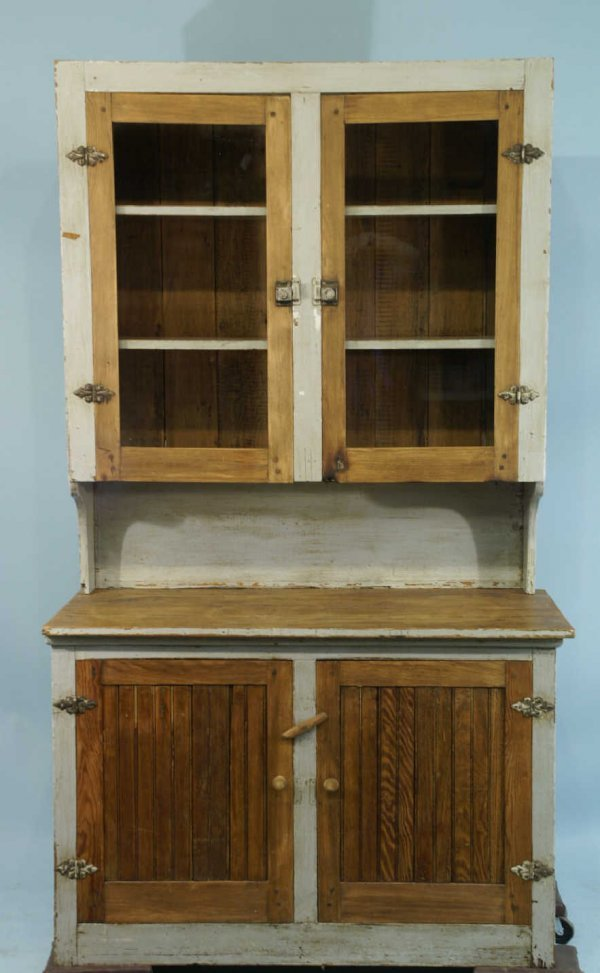 1018: TWO-PIECE ANTIQUE PAINTED HUTCH WITH GLASS DOORS