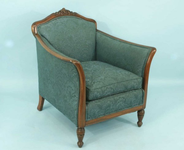 1023: CARVED EMPIRE STYLE ARMCHAIR IN JADE GREEN