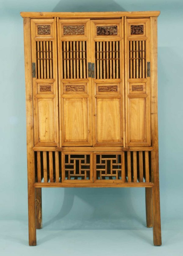 1169: OAK ARMOIRE WITH BAMBOO DOORS