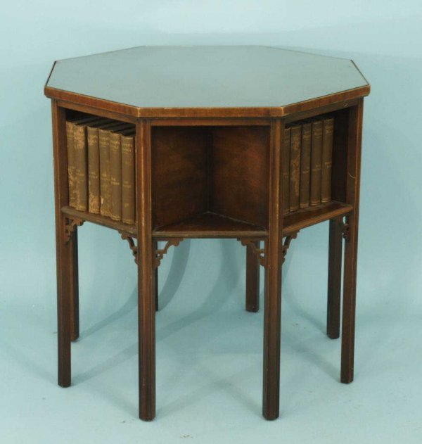 1010: MAHOGANY OCTAGONAL BOOKCASE WITH GLASS TOP