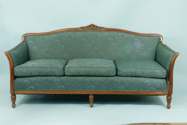 1024: A CARVED FRENCH STYLE SOFA IN A JADE DAMASK
