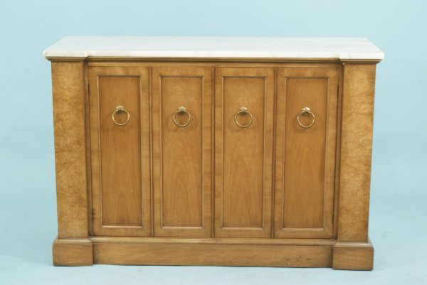 4004A: BURL WALNUT CONSOLE WITH IVORY MARBLE TOP