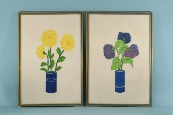 4008: TWO FRAMED ENGRAVING OF PURPLE AND YELLOW FLORALS
