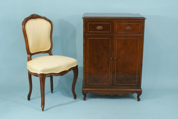 4009:COUNTRY FRENCH SIDE CHAIR & MAHOGANY MUSIC CABINET