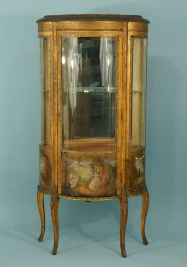4018: FRENCH GILT VITRINE WITH PAINTED INSET