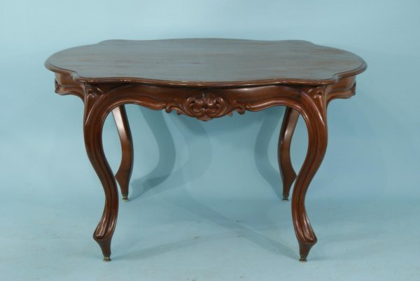 4019: ANTIQUE CARVED WALNUT CENTER TABLE