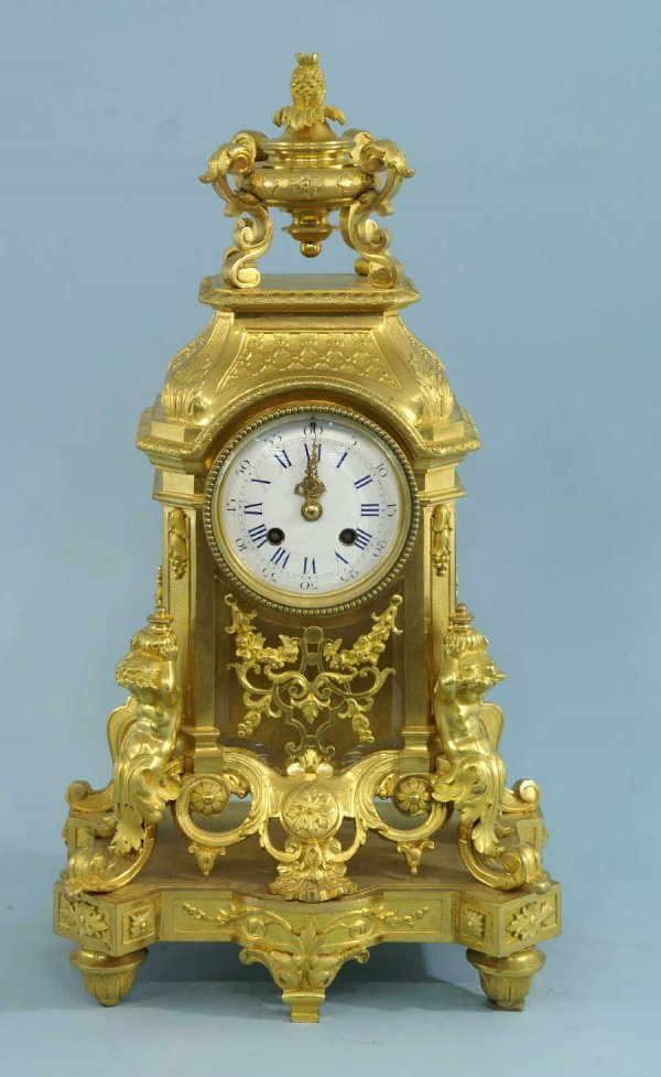 4022: ANTIQUE GILT FRENCH MANTLE CLOCK