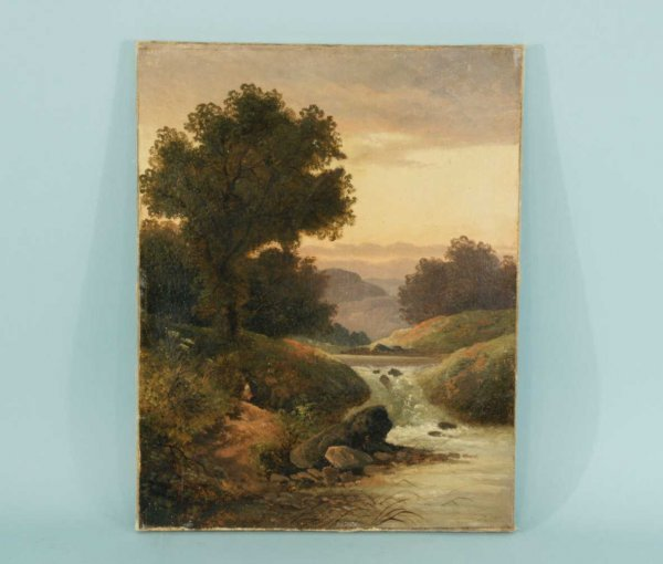 4023A: OIL ON CANVAS OF RIVER SCENE