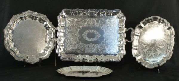 4017A: LOT OF FOUR SILVERPLATE SERVING PIECES