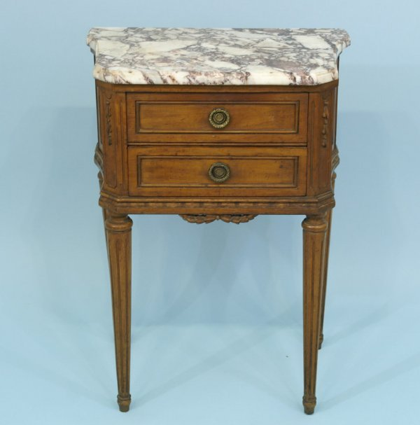 5: ANTIQUE WOODEN SIDE TABLE WITH A MARBLE TOP