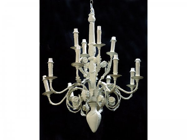 9: 12-LIGHT, DOUBLE TIER, PAINTED IRON CHANDELIER