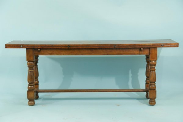 11: ANTIQUE FLIPTOP TABLE WITH STRETCHER