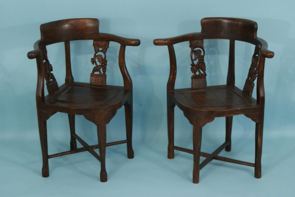 13: PAIR OF ORIENTAL CARVED AND PIERCED CHAIRS