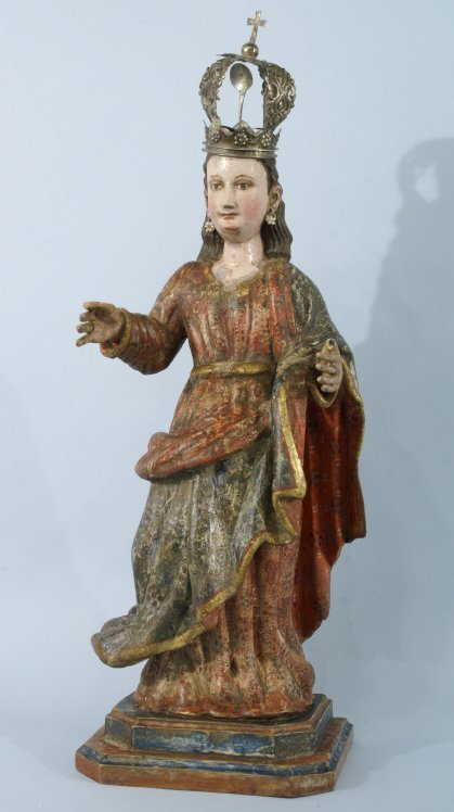 18: 17th CENTURY STATUE OF MARY FROM CUZCO, PERU