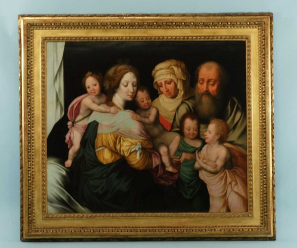 69: FRAMED OIL ON PANEL OF MADONNA AND CHILD