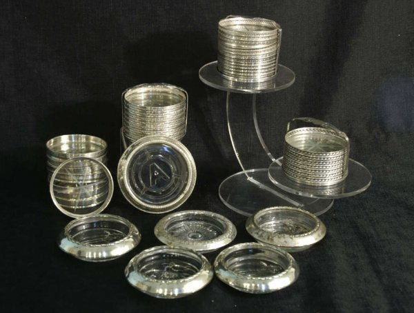 152: BOX LOT OF ANTIQUE STERLING SILVER COASTERS