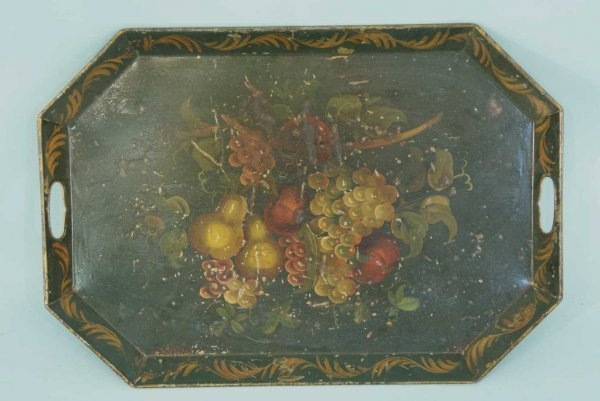 154: ANTIQUE HAND-PAINTED TOLE TRAY