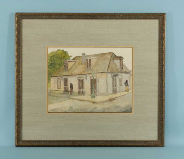 156: WATERCOLOR ON PAPER OF BOURBON STREET COTTAGE