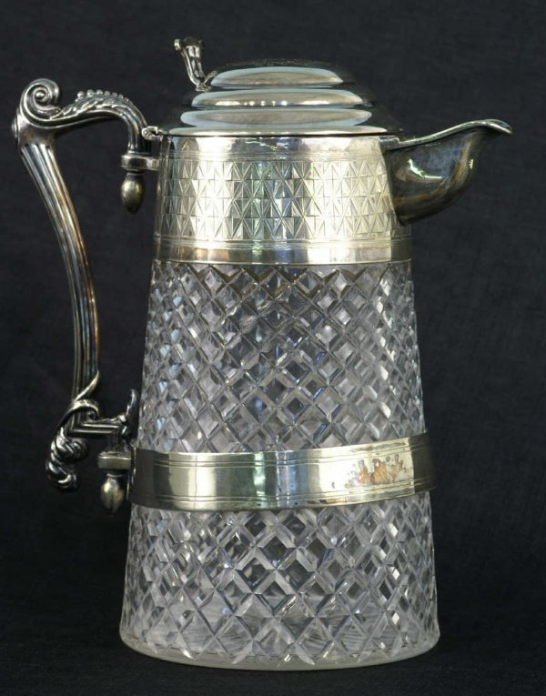159: A SILVERPLATE AND CUT GLASS PITCHER