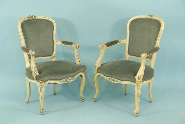 161: PAIR OF PAINTED FRENCH ARMCHAIRS FROM THE 1950's