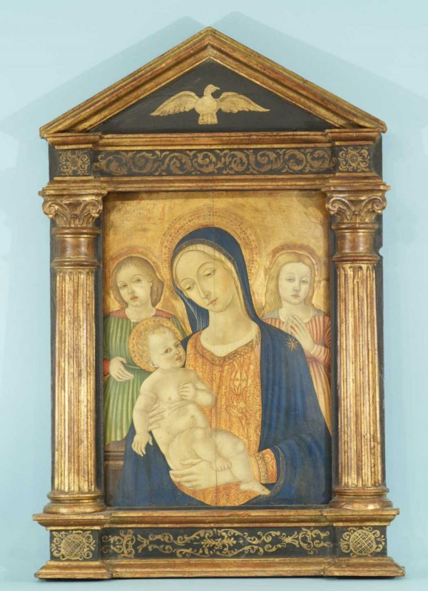 172: FRAMED MADONNA AND CHILD AND TWO FIGURES